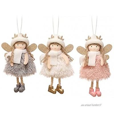 FENXIXI 3pcs poupée d'ange de Noël jolie chapeau pendentif décorations de Noël for la maison Color : A Size : As the picture shows