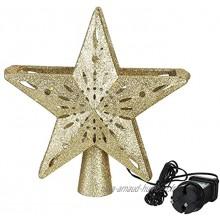 3D Glitter Star Lighted Christmas Tree Topper avec projecteur de Flocon de Neige Décorations de Noël éclairées Tree Topper pour Arbre EU Pulg Snowflake Tree TopperColor:Gold A EU Plug