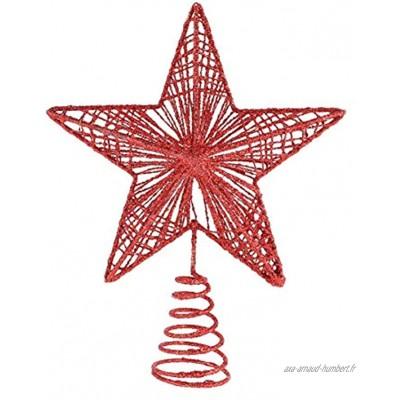 Abaodam Arbre de Noël Topper Rouge Scintillant Étoiles Arbre De Noël Toppers Décorations- 7. 8 Plug- in Cime des Arbres Étoiles Arbre De Noël Ornement pour La Maison Parti Arbre De Noël