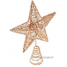 Abaodam Décoration de sapin de Noël en forme d'étoile dorée rose pailletée 9. 84 Décoration de sapin de Noël Décoration pour la maison ou une fête