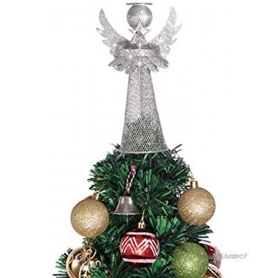 Amosfun Cimier de sapin de Noël en forme d'ange en métal argenté pour sapin de Noël Décoration pour vacances maison bureau centre commercial