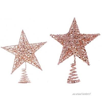 Amosfun Lot de 2 décorations de sapin de Noël en forme d'étoile scintillante Doré rose 20 cm 25 cm