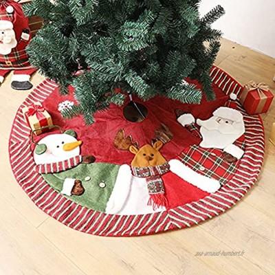 Angel&H Couvre-pied de sapin de Noël rouge de 1,2 m motif Père Noël bonhomme de neige élan