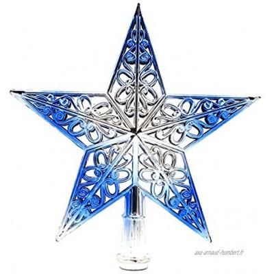JMAHM Étoile de sapin de Noël pour sapin de Noël 20 cm bleu et argent