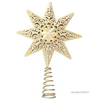 Lazyspace Étoile de sapin de Noël en métal pailleté Décoration pour sapin de Noël 20 cm Doré