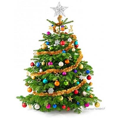 NUOBESTY Étoile Darbre de Noël Scintillant 1Pc 25 X 30 Cm Argent Clignotant Lampe de Dessus Darbre Ornement Fil Creux Paillettes Noël Cime Darbre Étoile Arbre Étoile Topper Lumières