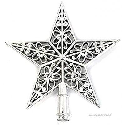 PRINDIY Argent Ornement Creux en Plastique Argenté Etoile De Noel Topper Arbre De Noel Top Decoration