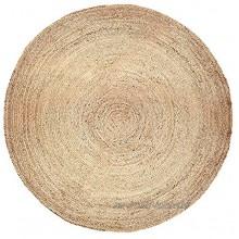 Tapis Rond en Jute Tapis de décoration de Sol en Fibre Naturelle tressée réversible 182 cm 6 Pieds