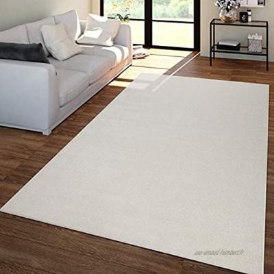 TT Home Tapis Salon Uni Poils Ras Tendance Et Doux Sobre en Crème Dimension:120x170 cm
