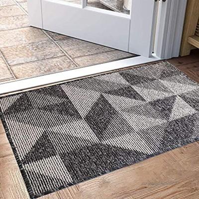 Paillasson d'intérieur tapis d'entrée antidérapant et résistant à la saleté tapis de porte intérieur à profil bas lavable en machine 80x50 cm noir géométrique