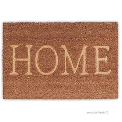 Relaxdays Fußmatte Home aus Kokos rutschfest Paillasson en Fibres de Coco PVC Nature 40x60x1,5 cm