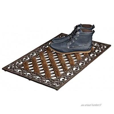 Relaxdays Paillasson en fonte avec brosse essuie-pieds tapis d'entrée en fonte rectangle H x l x P: 4 x 72 x 46 cm style maison de campagne ancien anti-dérapant natte de sol bronze