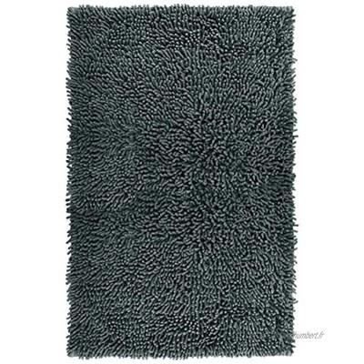 Lashuma Tapis de baignoire chenille tapis de bain tapis de salle de bain tapis de douche Coton graphite 50 x 80 cm
