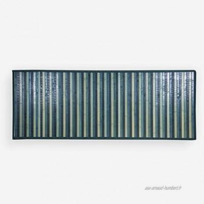 Lovely Home Tapis en bambou dégradé de couleurs 55x140cm pour cuisine salle de bain chambre bleu