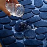 MIULEE 1 P Tapis d'Entré Tapis de Bain en Mémoire Mousse Hydrophile Dessin de Galet Fibre Superfine Antidérapant Doux pour Salle de Bain Baignoire Cuisine 40x60CM Bleu Foncé
