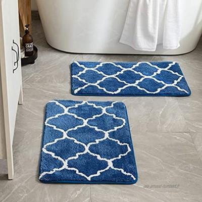 MIULEE Lot de 2 Tapis Salle de Bain Rectangulaire Tapis d'Entrée à Motif Marocain Hydrophile Anti-glisssant Confortable pour WC Toilette Baignoire 50x80 Bleu Foncé