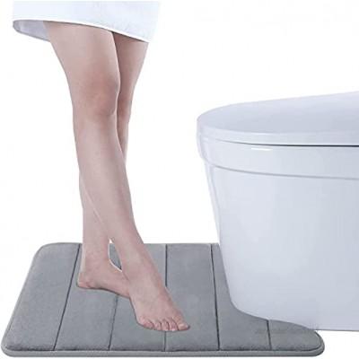 Tapis de piédestal de Toilette Mousse à mémoire de Forme Tapis de Sol antidérapant en Forme de U pour Toilette 50 x 60 cm Gris Argenté