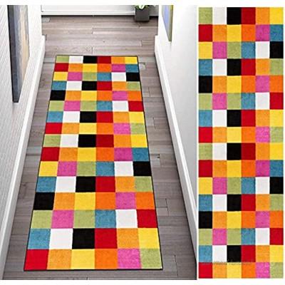 HXFAFA Tapis de couloir Long 50 x 200 cm Lavable Antidérapant Multicolore à carreaux