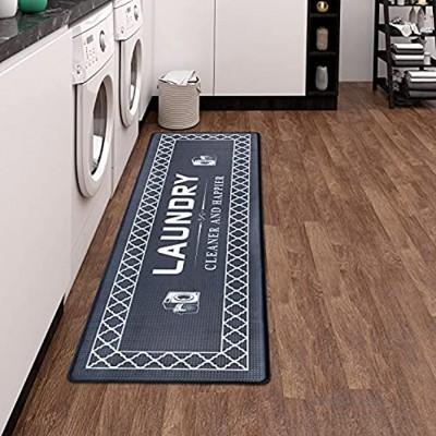 Lot de 2 tapis de cuisine antidérapants avec PVC imperméable Tapis de cuisine pour cuisine couloir salon chambre à coucher salle de bain Vintage géométrique 120 x 44 cm + 77 x 44 cm