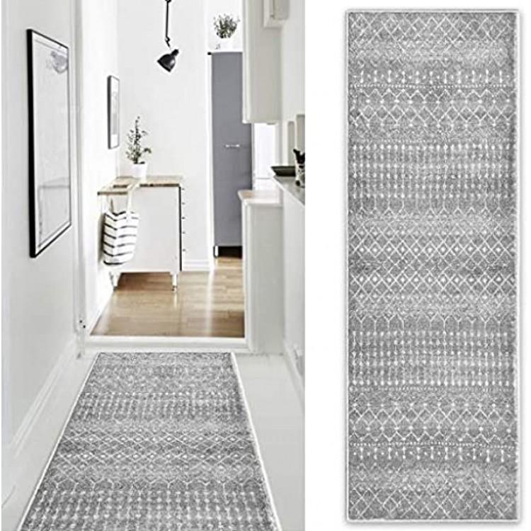 SOSTUDIO Tapis De Couloir-Bouchon De Saleté-Antidérapant-Doux-Lavable en Machine-pour Couloir Cuisine Chambre Entrée-Gris-60 * 180cm