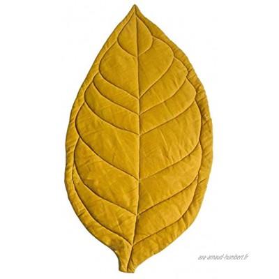 Jiacheng29_ Tapis Rampant Tapis De Jeu De Bébé De Feuille De Coton De Décoration De Pièce De Couleur Unie pour La Maison Jaune Taille Unique