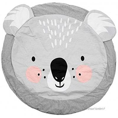 Nrpfell 90CM enfants jouent Tapis de jeu Tapis rond Tapis Couverture Coton Ramper Couverture Tapis De Sol Pour Enfants Chambre Decoration INS Bebe Cadeaux Koala