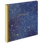 Hama Album photo vierge livre Keepsake album photo traditionnel format 18 cm x 18 cm 30 pages blanches pour 30 photos 15 cm x 15 cm Bleu Doré