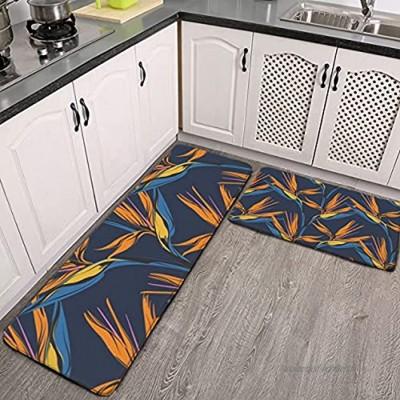 Lot de 2 tapis de cuisine lavables antidérapants pour intérieur ou extérieur Bleu