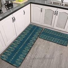 Lot de 2 tapis de cuisine lavables antidérapants pour intérieur ou extérieur plumes de paon bleu sarcelle