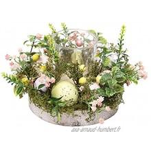 Baoblaze 6.8cm Diamètre Verre Photophore Bougeoir décoratif Petite Fleur Oeufs Bougie Anneaux Couronne Thème de Pâques Printemps D'été Table Pièce Maîtresse