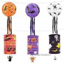 Décoration de lanterne d'Halloween lanternes en papier d'Halloween pliables et suspendues lanternes en papier avec tiges de support pour la décoration de fête d'Halloween 1