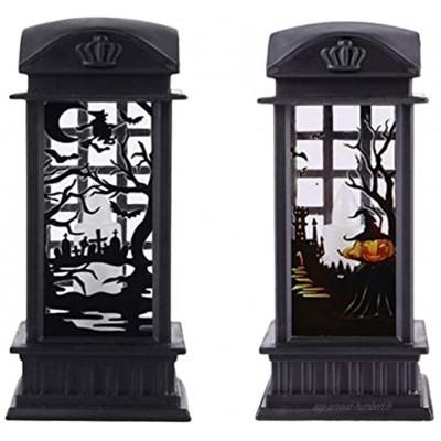 OSALADI 2 Pièces Lanterne à Eau Éclairée Halloween Boule de Neige Bougie Lampe Veilleuse Halloween Prop Décoration pour La Fête Dhalloween