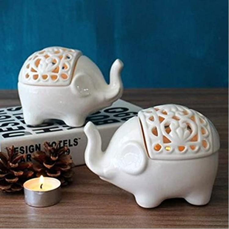 Hosoncovy Lot de 2 petits photophores creux en céramique en forme d'éléphant pour bougie chauffe-plat