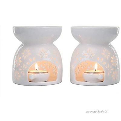 Liseng Lot de 2 photophores en céramique pour bougies chauffe-plat Diffuseur de parfum Blanc romantique
