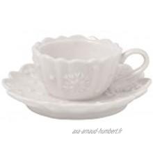 Villeroy & Boch Toy's Delight Royal Classic Decoration Bougeoir pour Bougie Chauffe-Plat Tasse à café Porte-Bougie Chauffe-Plat au Motif en Relief Porcelaine Premium 10 x 4cm Blanc