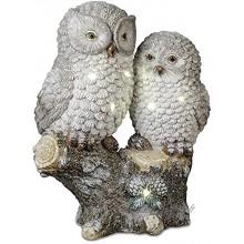 dekojohnson Décoration LED moderne Couple de chouettes Photophore électrique Chouette Chouette Gris argenté Avec paillettes 36 x 12 x 44 cm