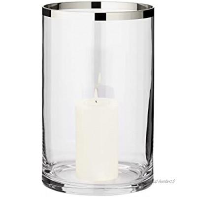 EDZARD Molly Photophore en verre de cristal soufflé à la bouche avec bord en platine pour bougies hauteur: 30cm diamètre: 17cm