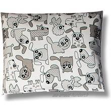 BALBINA Housse de coussin pour enfant en coton animaux gris 40 x 60 cm