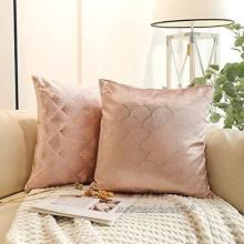 """FRECINQ 2 Pieces Housses de Coussin Taie d'oreiller Modernes Style Protege Oreiller Decoration Maison Salon Chambre pour Canapé Chaise de Burea Taille 45 x45 cm 18""""x18"""" Rosa Or"""