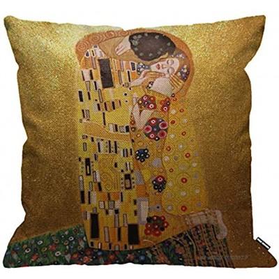 HGOD DESIGNS Housses de Coussin Gustav Klimts Le Baiser Taies d'oreillers Maison Décoration Pour Hommes Femmes Garçon Fille Chambre Salon Canapé Voiture Coussins Oreillers 45 x 45 cm