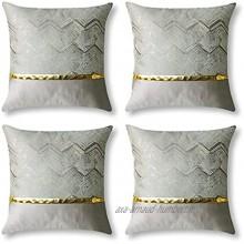 JOTOM Lot de 4 Housse de Coussin 45 x 45 cm Décoratif Taie d'oreiller Fil d'or Ondulé Polyester Maison Salon Canapé Chambre Gris