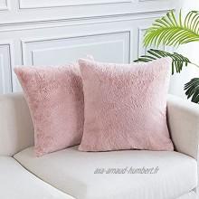 Lot de 2 Housse de Coussin 45x45 Décoratif Coussin Doux Taie d'oreiller pour Accueil Canapé Chambre à Coucher Laine Artificielle Deco Housses de Coussin Rose