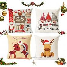 Sunshine smile 4pcs Christmas Pillow Covers,Coussin taie d'oreiller noël,Housse de Coussin Noel,Housse de Coussin Decoration,Merry Christmas Decoration Noel Voitureré De Noël Taie d'oreiller C