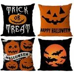 Taie d'oreiller Halloween 4 pièces Housse de Coussin Halloween Taie de coussin décoratif d'oreiller citrouille chauve-souris housses de coussin pour d'halloween décoration de la maison 45X45cm