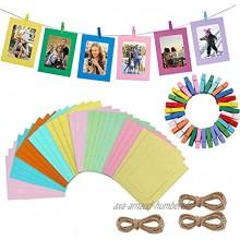 30pcs DIY Kraft Papier Cadres Photo Suspendus Décoration Murale DIY avec Clips Cordes pour Photos 4x6in Multicolore