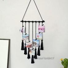 EliteMill Présentoir photo en macramé à suspendre avec pompons et pinces Décoration murale minimaliste pour la maison