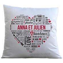 Coussin Personnalisable Mots d'amour Coussin Moelleux 40 x 40 cm Cadeau Couple Saint-Valentin Cadeau de Mariage