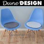 DuneDesign 2 Coussins de Chaise en Feutre 40x37x0,8cm Ovale Fin réversible Gris