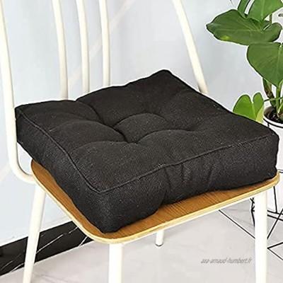 Eogrokerr Coussin de sol en coton doux au toucher Coussin épais Coussin de rembourrage en coton Pour chaises de jardin ou de salle à manger Noir 40 x 40 1 pièce