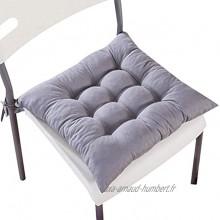 homeyuser 2 Coussins rembourrés Coussins de siège de Chaise pour chaises de Cuisine Jardin Salle à Manger avec Sangles 40 x 40 cm Gris